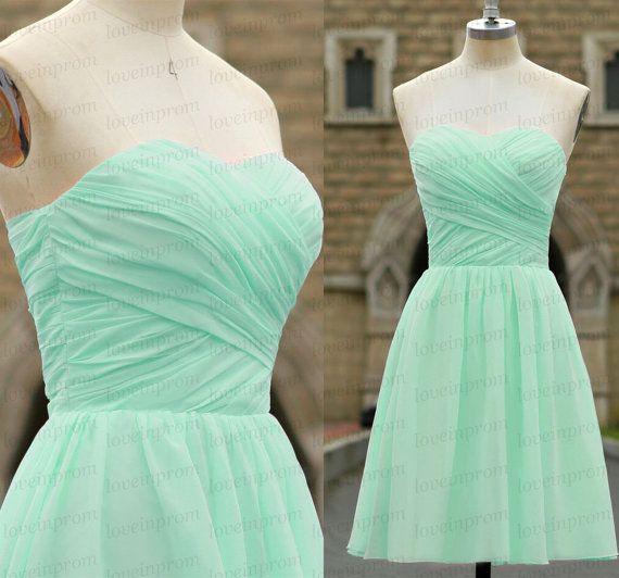 100% Handmade chiffon bridesmaid dressmint by loveinprom on Etsy