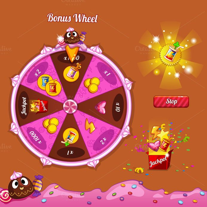 Interface game design (theme candy) by Game interface store on Creative Market