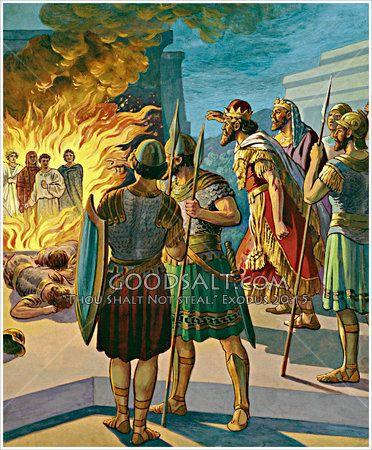 Three Hebrews in the fiery furnace Daniel 3 | Bible art ...