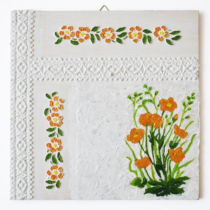 Lace ribbon series – Orange flowers (Szalagos sorozat – Narancssárga virágok) - 25 x 25 cm, 2017, https://www.vivienholl.com/termek/szalagos-sorozat-narancssarga-viragok/ #paverpol #napkin #szalvéta #flowers #flower #virágok #virág #lace #szalag #pentart #vivienholl