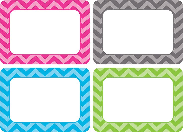 "Chevron Name Tags/Labels - Multi-Pack - These all-new name tags/labels are bigger than ever. The larger writing space comes in handy when using them for name tags, gift tags, or labels for student portfolios or cubbies. 3 1/2"" x 2 1/2"". 36 per pack."