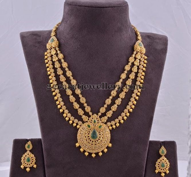 Jewellery Designs: Triple Layer Uncut Necklace by MPJ