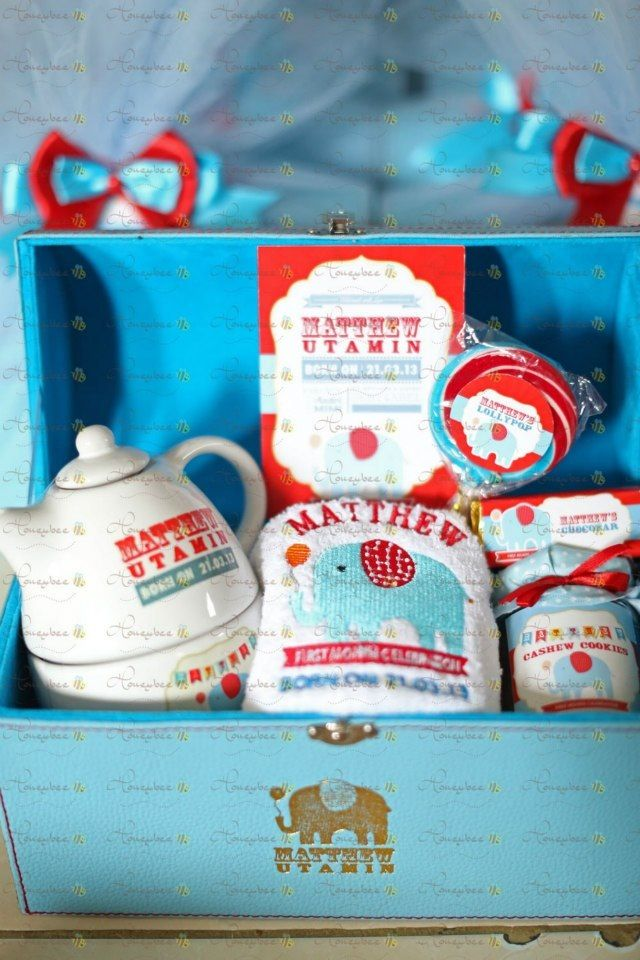 Blue - red elephant themed hamper.
