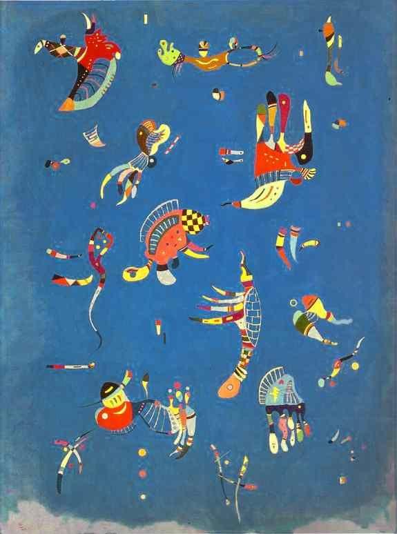 """""""Cielo azul"""" Kandisky  Descripción oficial:  K. considerado como el padre de la pintuta abstracta. """"Cielo azul"""" realizado en 1940, nos traslada a un mundo más puro, dinámico y bello. pertenece a la última estapa del artista denominada """"Abstracción biomorfa"""". La obra se encuentra en el Museo Nacional de Arte Moderno, en el Centro Pompidou de París."""