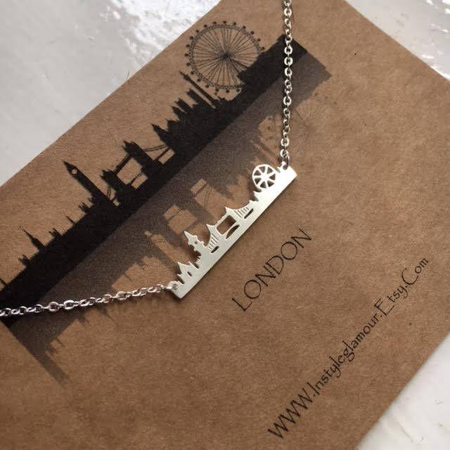 London Skyline Necklace, Paris Skyline Necklace, Newyork Skline Necklace, Cityscape  Necklace, Minimal Necklace by Instyleglamour on Etsy