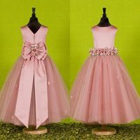 Beautiful Pink Flower Girls Dresses For Weddings 2016 Custom Made Pretty Formal Girls Gowns Satin Tulle Birthday Pageant…