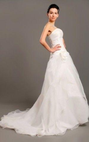 Strapless Taf Midden Maat Bruidsjurk met Bloemen