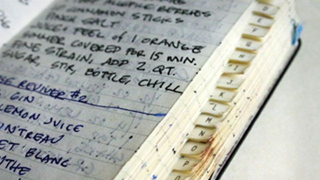 """Use an old address book to keep drink recipes - """"The alphabetical tabs, bartending expert Jeffrey Morgenthaler writes, makes it quick and easy to look up a recipe for prep or to share with guests."""""""