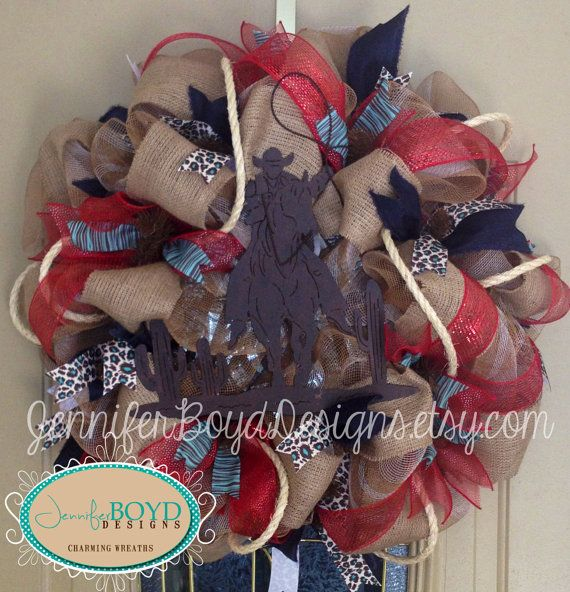 Western Cowboy Roping Deco Mesh Wreath in rustic red, turquoise, rope, burlap and denim ribbon