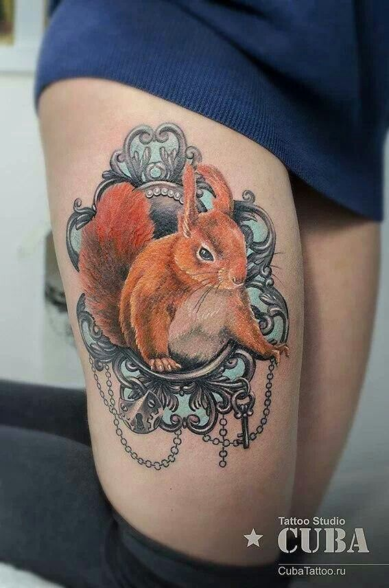 Squirrel cameo frame tattoo