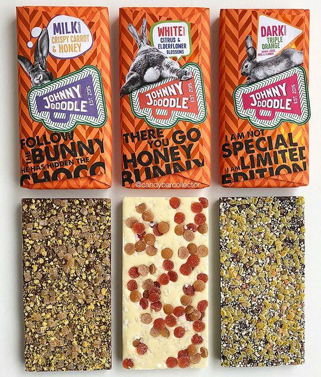 Johnny Doodle Bars Milk Chocolate w/ Crispy Carrot and Honey, White Chocolate w/ Citrus and Elder-flower Blossoms and Dark Chocolate w/Triple Orange