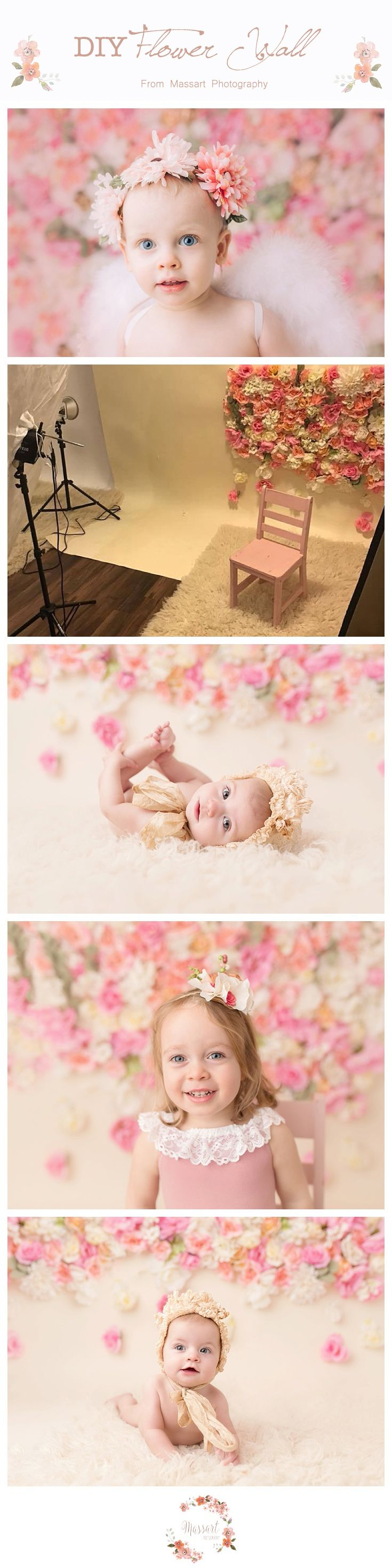 Photography flower wall backdrop DIY from Massart Photography. Step by step instructions in blog post. http://massartphotography.com/diy-flower-photography-backdrop/