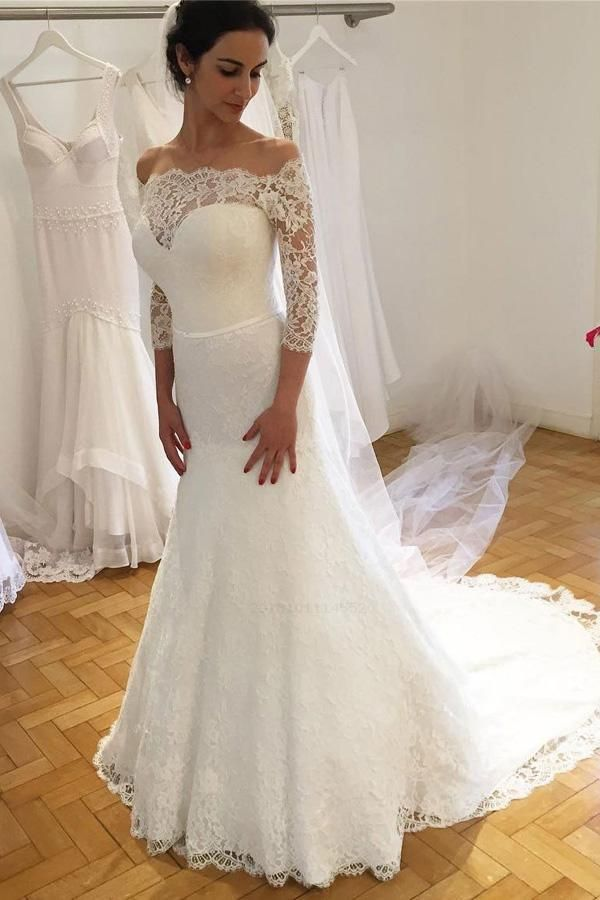 Hot Sale Enticing Wedding Dresses Lace Lace Off Shoulder Sheath 3/4 Sleeves Wedding Dresses With Sweep Train