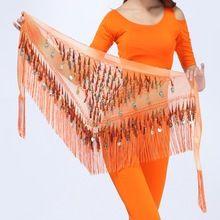 Danza del vientre Hip Bufanda de La Falda de la Cintura Del Abrigo Cinturón Bling Lentejuelas de Oro Monedas Borlas H34(China (Mainland))