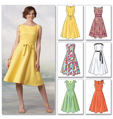 Butterick Pattern B4443    MISSES'/MISSES' PETITE DRESS: Dress: close-fitting bodice and slightly flared skirt has bodice variations, back zipper
