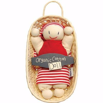 Keptin-Jr Rag Doll With Basket, Girly Red - The Natural Newborn - 1