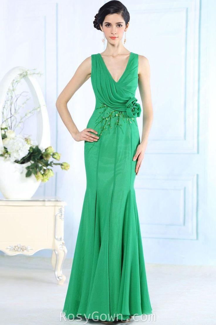deep v-neck #sleeveless beaded #green #mermaid formal #dress