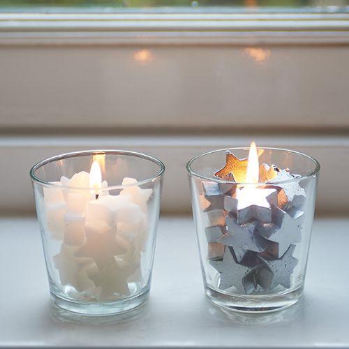 Ik heb ze in allerlei vormen en maten maar deze leuke votives met sterretjes staan in de kerstperiode zeker op tafel!