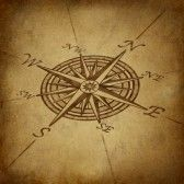 Compass rose in perspective with old vintage grunge texture representing a cartography positioning direction symbol for navigation and setti...