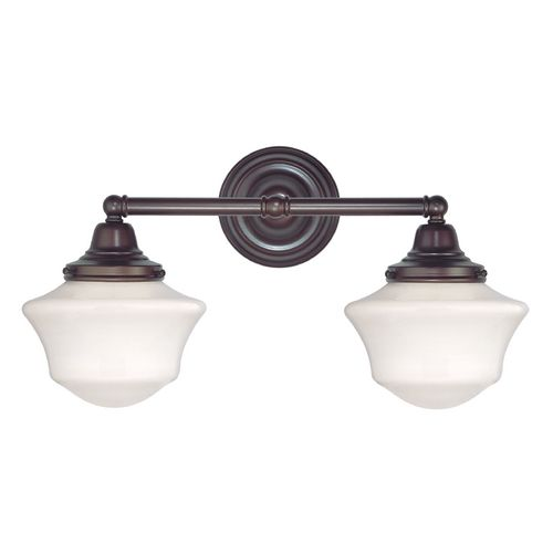 $60 Design Classics Ellington Schoolhouse Two-Light Bathroom Fixture in Bronze | WC2-220 / GC6 | Destination Lighting