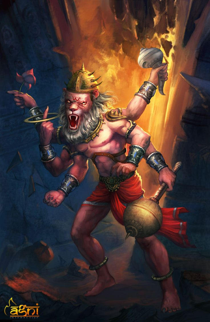 Narasimha- Hindu myth: an avatar of Vishnu. He is a man/lion deity with the body of a man and head and claws of a lion. He is the protector and guardian of his devotees.