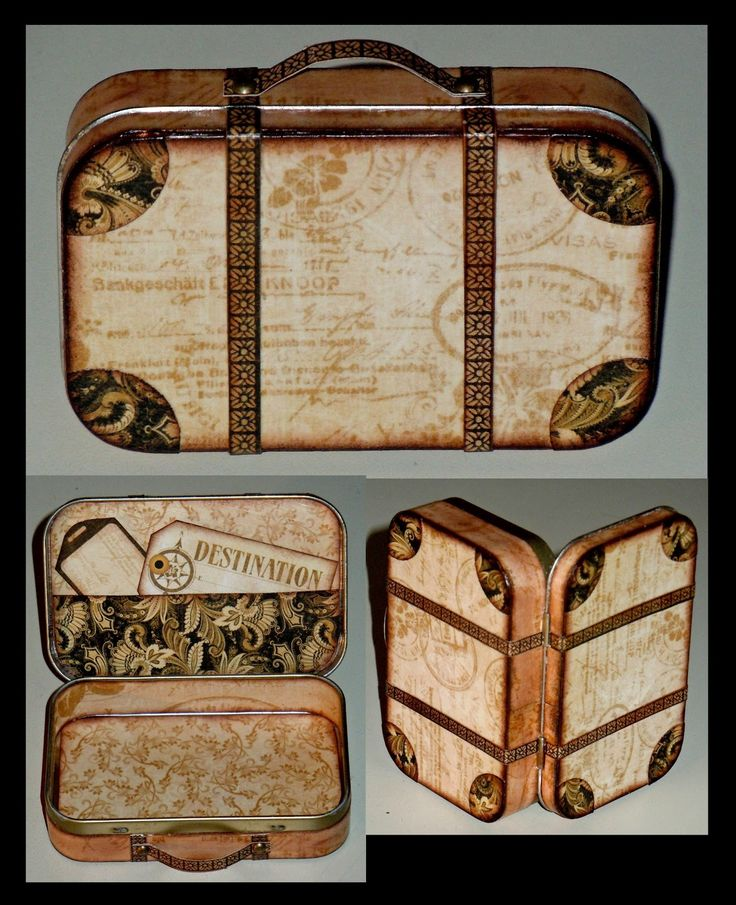 """Altered Altoid suitcase-cute for keeping ticket stubs, shout wipes, lip balm, etc while traveling- or for business cards,etc...also a great favor at a bon voyage party-could """"pack"""" with earphones, an itunes card, shout wipes, or travel sewing kit...my girls would have loved to put their tickets in these! :)"""