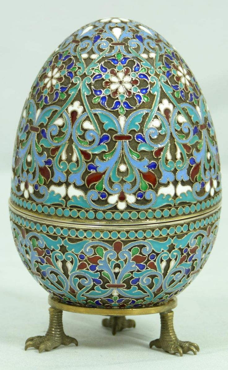 fine decorative arts a russian silver cloisonne enameled egg box haveing scrolled floral design. Black Bedroom Furniture Sets. Home Design Ideas