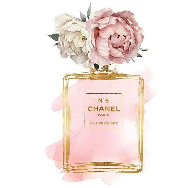 Chanel No5 art 8x10 Pink Peony watercolor watercolour Gold... ❤ liked on Polyvore featuring home, home decor and wall art