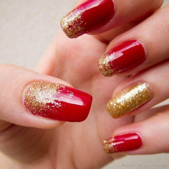 Uñas color rojo con dorado \u2013 20 Ideas geniales