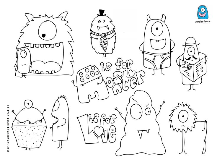 free monster printable from mammasaurus printables
