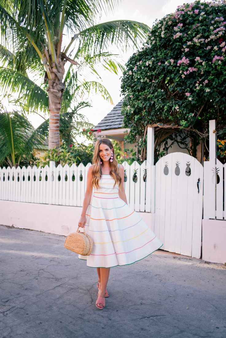 Gal Meets Glam Pineapple Fences -Anna October dress, Mansur Gavriel sandals, Rebecca de Ravenel earrings & Seagrass bag