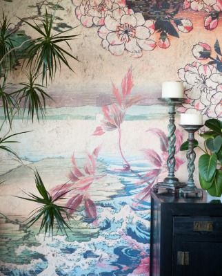 """The dining room in Relda and Steve Frogley's St Mary's Bay home features a wallpaper from Back to the Wall, the venture Relda started with Joanne Gray; Relda bought the """"incredibly heavy"""" candlesticks in Hong Kong: """"Getting them home was quite a mission."""""""