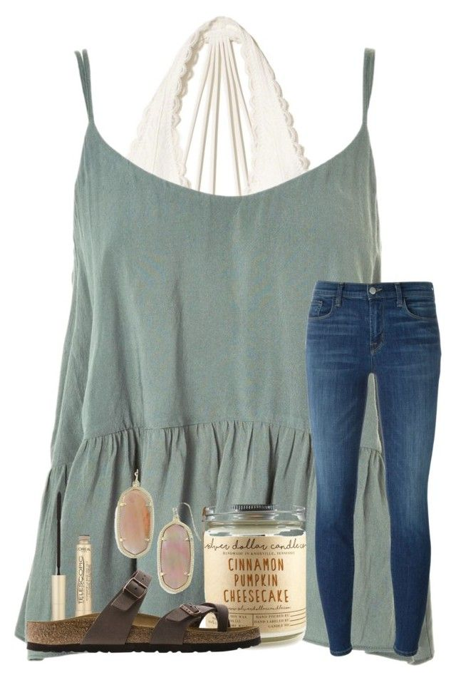 """""""looking good isn't cheap & looking cheap isn't good."""" by samanthars ❤ liked on Polyvore featuring Hollister Co., Topshop, J Brand, L'Oréal Paris, Birkenstock and Kendra Scott"""