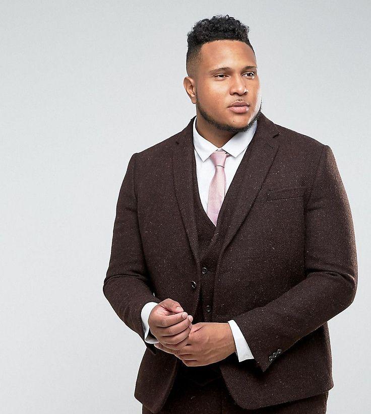 ASOS PLUS Slim Suit Jacket in 100% Wool Harris Tweed Herringbone In Br