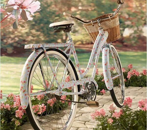 Baby Blue bike with painted on roses, and a basket