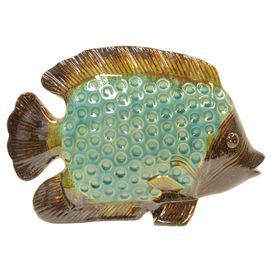 Multicolor Ceramic Fish Decor Product Décorconstruction Material Ceramiccolor Turquoise And Browndimensions