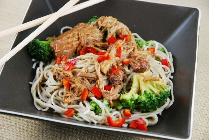 Slow Cooker Asian Chicken and Noodles with Broccoli - 7 Points + - LaaLoosh