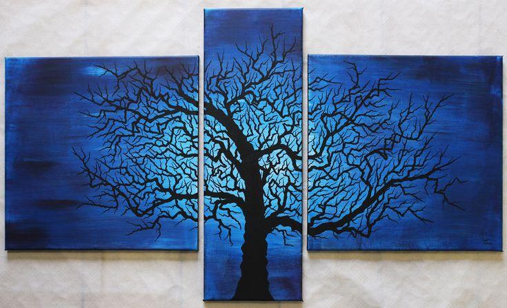 Titre arbre tortueux triptyque r alis la peinture acrylique et au posca - Peinture acrylique triptyque ...