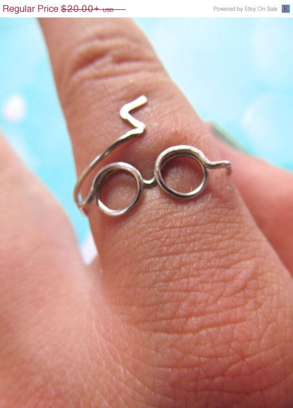 Harry Potter Ring - Glasses & Lighting Scar - Adjustable Silver Ring - Harry Potter Jewelry