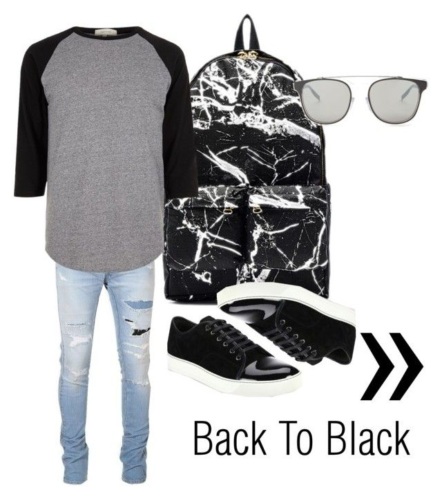 """Boyfie goals"" by shevira on Polyvore featuring Balmain, Off-White, Dior Homme, River Island, Lanvin, men's fashion and menswear"