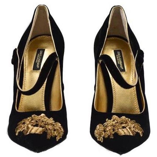 Dolce Gabbana NEW SOLD OUT RUNWAY Black Gold Evening Mary Jane Heels... ($2,145) ❤ liked on Polyvore featuring shoes, pumps, heels, zapatos, black heel pumps, evening pumps, gold pumps, black pumps and gold evening shoes