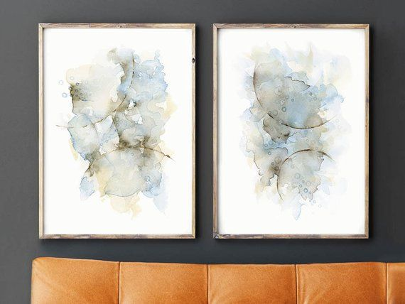 Beige and Brown Modern Diptych Wall Art Contemporary Minimalist Horizontal Abstract Painting Print Set of 2