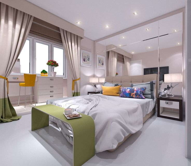 спальня,шторы,подушки,лампы,зеркальная стена,зеркало,зеркало в спальне,балкон,стул,дизайн спальни
