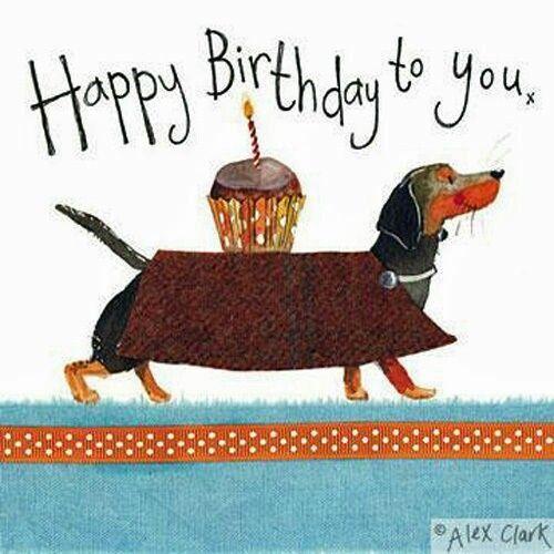 Днем рождения, поздравительная открытка таксы