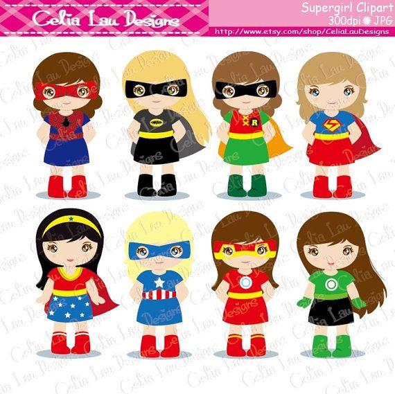 Super-héros Clipart Clipart Supergirl S019 par CeliaLauDesigns