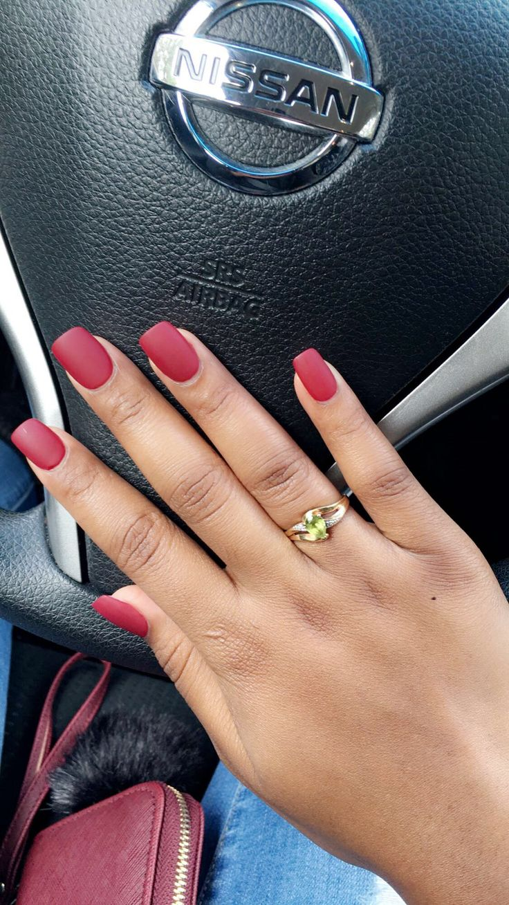 Fall nails, matte nails, wine red, short nails, cute, simple