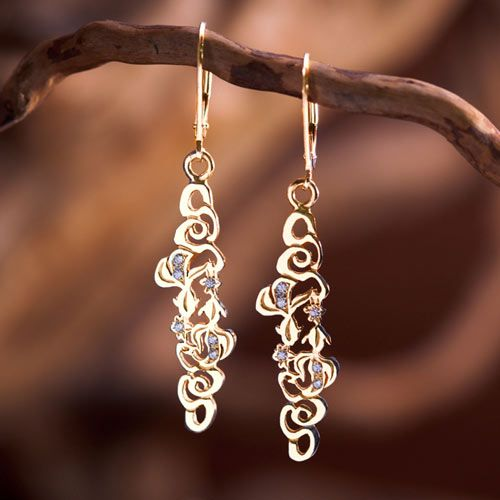 The Water Element Earrings Gold With Diamonds - Symbol of The Water Element. Water Element  The water element represents flow, emotion, intuition and imagination. ; The three circles that cross over one another represent the well known second stage of the seed of life- this is the second day of creation, when water was created, the three circles also represent the triple molecule of water.  Water represents change, flow and adaptation.