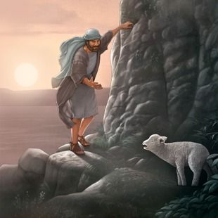 Um pastor tentando recuperar uma ovelha perdida