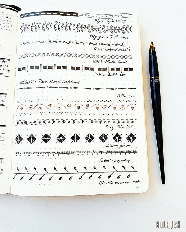 "Original bullet journal border dividers doodle (@bolf_ish) pe Instagram: ""Decorations anyone can make without any inspiration from the internet. All you need to make these…"""