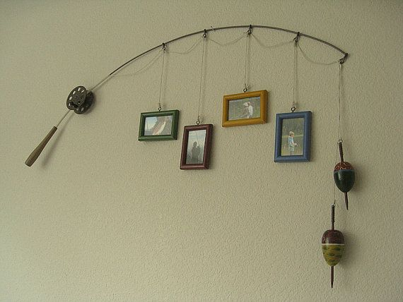 Fishing Pole Picture Frame Metal Brown 4 di DabbledDetails